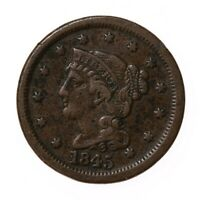Raw 1845 Braided Hair 1C Circ US Mint Copper Large Cent Coin