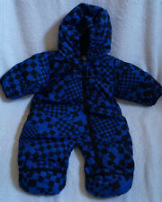 Columbia Snuggly Bunny Baby Bunting Snowsuit Down Blue Black 6 Months Geometric