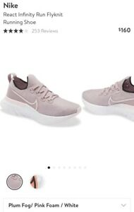 Nike React Infinity Run Flyknit Women's Running Shoe Plumfog/Pink US10, Euro42