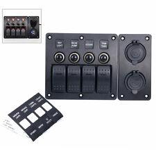 12V/24V 4 Gang Red LED Rocker/Circuit Breaker Switch Panel USB+12v Power Adapter