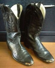 MENS 12D BLACK LEATHER COWBOY RODEO WESTERN BOOTS SIZE 12 D TEXAS STEEL TOE TIPS