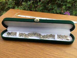 925 silver heavy decorative linked mens bracelet 112g