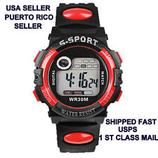 SALE Men Wrist Watch Red Sports Style Digital LED Quartz Alarm Day Date Rubber A