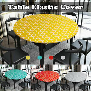 Elastic Fitted Tablecloth Round Edged Table Cover Wedding Party Dining Tableware