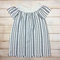 NWT Zara Striped Knit Off The Shoulder Mini Dress Lace Trim Cover Up Sz M
