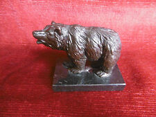 "Sculpture animalière en Bronze ""OURS"" Socle en Marbre / Statue / French Art Bear"