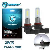 2X 9006 100W 10000LM LED Fog Lights Bulbs Conversion 6000K Super White DRL Kit