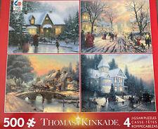 Thomas Kinkade Artwork Box Collection 4 Jigsaw Puzzles 500 Piece Each Winter Art