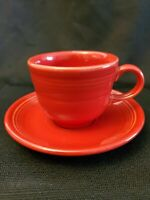 Fiestaware Scarlet Red Teacup and Saucer Fiesta  Tea Cup Mug