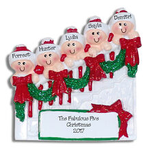 STAIRCASE Family of 5 Handpainted Personalized Christmas Ornament by Deb & Co.
