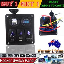 3 Gang Waterproof Car Marine Blue LED Switch Panel Dual USB Power Socket 12V-24V