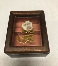 Vintage Wood Jewelry Case Box Floral Glass Lid Wood Rectangle Brown