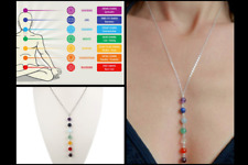 Rainbow of Crystals Chakra Stones Reiki Healing Sterling Silver Drop Necklace