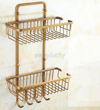 Bathroom Antique Brass Dual Tier Shower Caddy Wire Basket Storage Shelves wba109