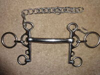 "STAINLESS STEEL MULLEN MOUTH RUGBY PELHAM BIT 4.5"" with CURB CHAIN"
