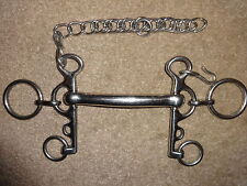 """STAINLESS STEEL MULLEN MOUTH RUGBY PELHAM BIT 4.5"""" with CURB CHAIN"""