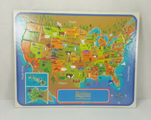 VINTAGE 1968 ROBINS FEDERAL CREDIT UNION PICTORIAL UNITED STATES MAP TRAY PUZZLE