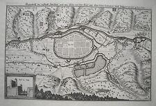 Zwickau Mulde Plan der Belagerung 1641 echter  alter Merian Kupferstich  1650