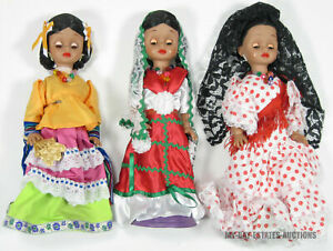 """RARE VINTAGE LOT OF 3 TIPICAS PAO-PAO MEXICAN DOLLS 13"""" TRADITIONAL DRESS DOLLS"""