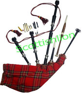 SL SCOTTISH GREAT HIGHLAND BAGPIPE ROSEWOOD BLACK COLOUR SILVER PLAIN MOUNT/Gait