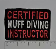 Certified Muff Diver Outlaw Biker Funny Motorcycle Iron On Patch