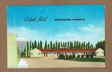 "Worthington,Minnesota,MN Oxford Motel used 1959, ""each room with bath"""