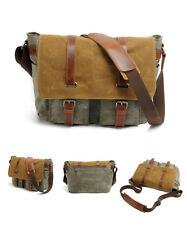 Men Vintage Canvas Cow Leather Camera Bag Shoulder Messenger Bag For Canon DSLR