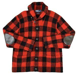 Polo Ralph Lauren RRL Hunting Buffalo Plaid Shawl Wool Sweater Size XL