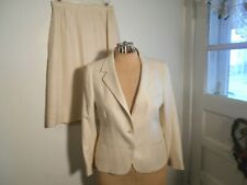 Ladies JOHN BROOKS Skirt Suit Size 10 Oatmeal DESIGNER (BROOKS BROS)