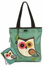 New Chala Everyday Big Tote Bag OWL Zip Tote Bag & Wallet Combo Teal Green gift