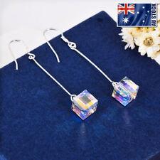 925 Sterling Silver Genuine Swarovski Elements Crystal Cube Dangle Drop Earrings