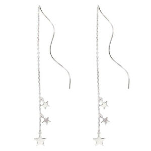 Sterling Silver Triple Stars Long Pull Through Wavy Threader Earrings Boxed