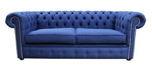 Chesterfield British Handmade 3 Seater Charles Midnight Blue Fabric Sofa Couch