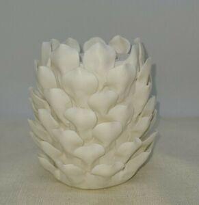 "Ceramic Pinecone Candle Holder, White, Taper, Votive, LED, Winter 4.5""h x 4 wide"