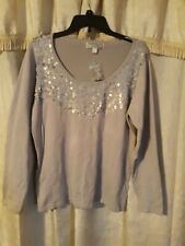 Simonton Says Designed By George Simonton NWOT Lt Weight Sequin Front Sweater...