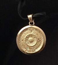 14k yellow Gold Aztec Calender Charm Pendant Diamond Cut Woman Mens Unisex