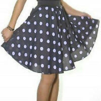 BLACK POLKA DOT SKIRT FANCY DRESS ROCK N ROLL 22ins LONG VINTAGE ROCKABILLY