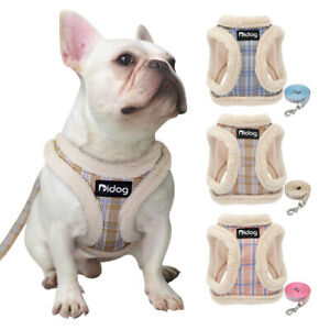 Fleece Small Dog Harness & Lead set Classic Plain Step in Puppy Vest Jacket XS