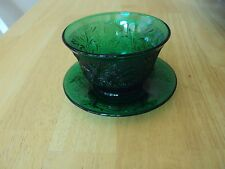 Emerald Green Anchor Hocking Oatmeal Sandwich Tiara Custard Bowl w/Saucer Rare