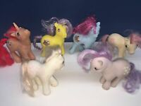VTG My Little Pony 80s Lot of 7 Ponies Hasbro Pink Blue White Yellow AS IS