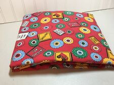 Full Fitted Trucking Themed Sheet Poppy By Linenco red yellow green blue EUC