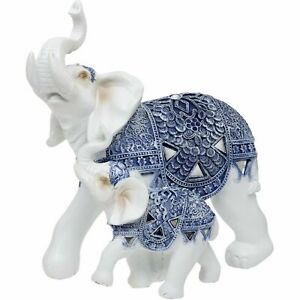 WHITE AND BLUE DECORATIVE ELEPHANT AND CALF ORNAMENT BY MATURI