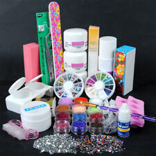 Pro Nail Acrylic Powder Glitter Liquid Glue File UV Gel Primer Art Tips Kit Set