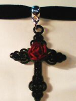 Gothic Pagan Velvet Black Choker necklace pendant  Ornate Black cross Red rose