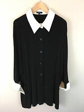 Vikki Vi Women's Travel Knit Top Button Front Stretchy Plus Size 3X Long Sleeves