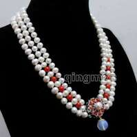 """8-9mm Round White Natural FW pearl & red coral 3 strands 18-19"""" necklace-nec6422"""