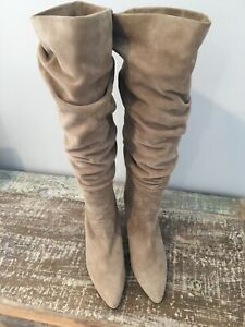 Authentic Stuart Weitzman Boots  Slouch Tall Knee Beige  38.5