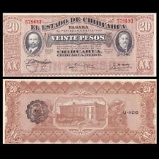 Mexico Chihuahua 20 Pesos, 1914, P-S537, AU-UNC