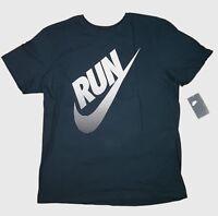 Men's NIKE Tee T-SHIRT Graphic Swoosh Run Logo Crew Athletic Fit Black XL XXL