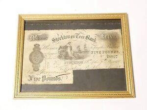 1888 Five Pound £5 Banknote AE0927 STOCKTON on TEES BANK Signed CUT Framed